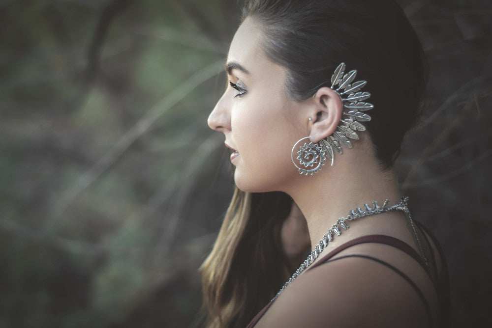 Boho Silver Feather Ear Cuff with Spiral Earrings