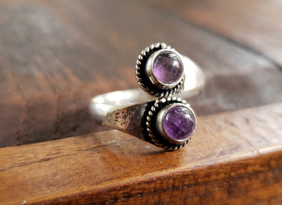 Adjustable Brass Amethyst Ring -- Culture Cross
