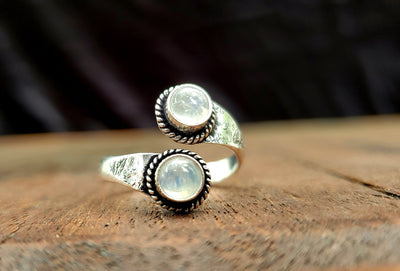 Adjustable Brass Moonstone Ring -- Culture Cross