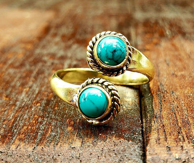 Adjustable Brass Turquoise Ring -- Culture Cross