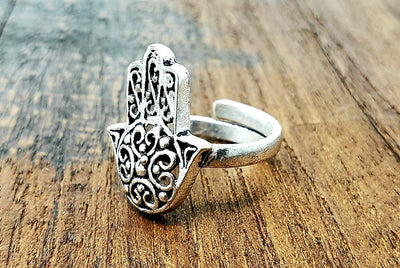 Adjustable Hamsa Ring -- Culture Cross