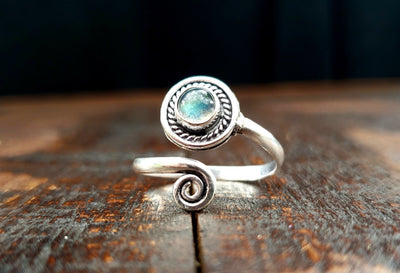 Adjustable Labradorite Ring -- Culture Cross