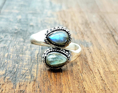Adjustable Labradorite Teardrop Ring -- Culture Cross