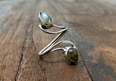 Adjustable Labradorite Vortex ring -- Culture Cross