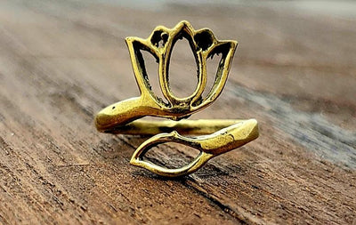 Adjustable Lotus Ring -- Culture Cross