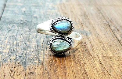 Adjustable Moonstone Teardrop Ring -- Culture Cross
