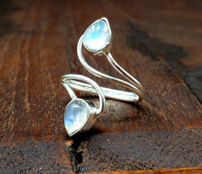 Adjustable Moonstone Vortex ring -- Culture Cross