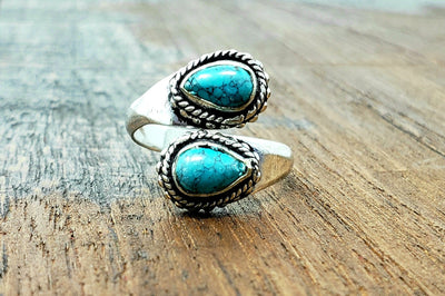 Adjustable Turquoise Teardrop Ring -- Culture Cross
