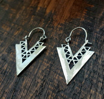Arrowhead Geometric Earrings -- Culture Cross