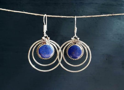 Blue Lapis Tibetan Earrings -- Culture Cross