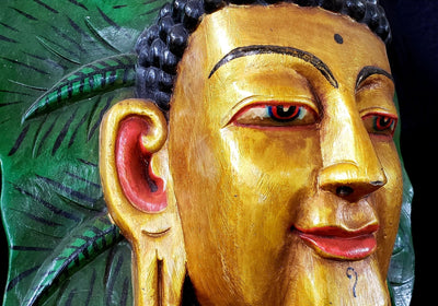 Carved Tibetan Buddha Mask -- Culture Cross