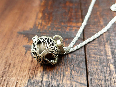 Celtic Tree of Life Harmony Bell Cage Pendant -- Culture Cross