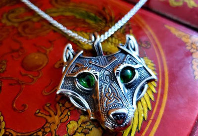 Celtic Wolf Stainless Steel Pendant Necklace -- Culture Cross