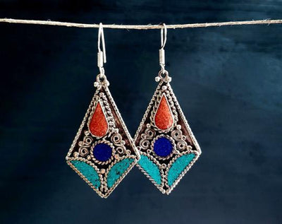 Ethnic Tibetan Turquoise Mosaic Diamond Earrings. -- Culture Cross