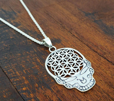 Flower of Life Skull Necklace -- Culture Cross