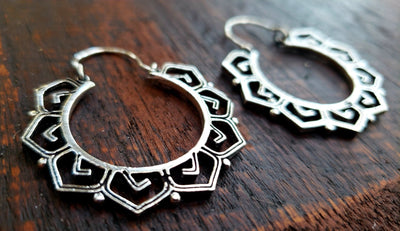 Geometric Lotus Earrings -- Culture Cross