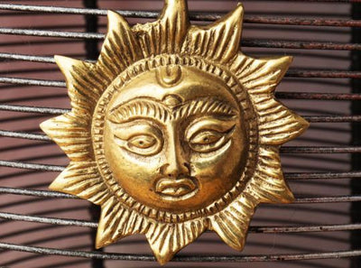 Gold Brass Sun Pendant Necklace -- Culture Cross