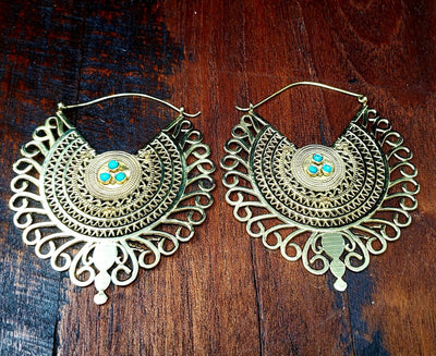 Gold Empress Turquoise Earrings -- Culture Cross
