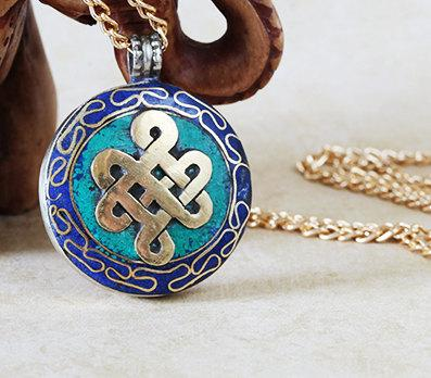 Gold Endless Knot Tibetan Necklace -- Culture Cross