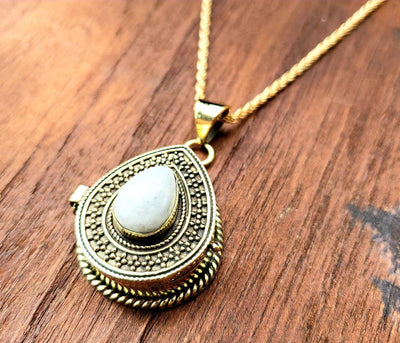 Gold Moonstone Teardrop Locket Necklace -- Culture Cross
