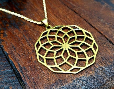 Gold Sacred Geometry Necklace -- Culture Cross
