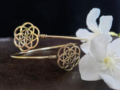 Gold Seed of Life Arm Cuff -- Culture Cross