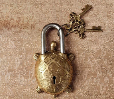 Golden Turtle Temple Lock -- Culture Cross