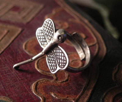 Hmong Silver Dragonfly Ring -- Culture Cross
