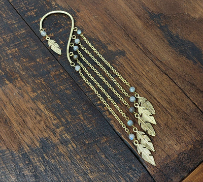 Labradorite Chain Ear Cuff Wrap Around Earring -- Culture Cross