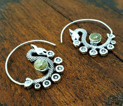 Labradorite Dancing Dragon Earrings -- Culture Cross