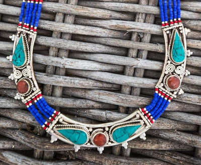 Lapis Tibetan Alaya Necklace -- Culture Cross
