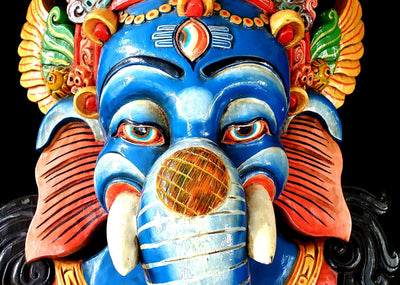 Large Blue Ganesh Tibetan Mask -- Culture Cross