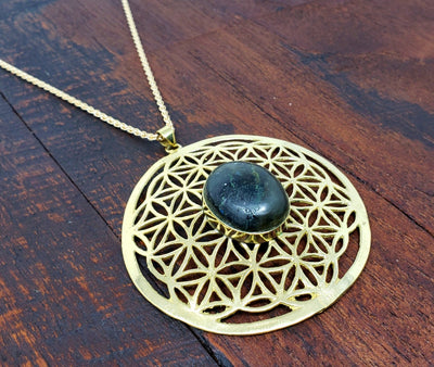 Large Labradorite Flower of Life Necklace -- Culture Cross