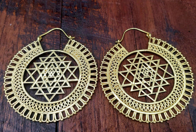 Large Sacred Geometry Sri Yantra Earrings -- Culture Cross
