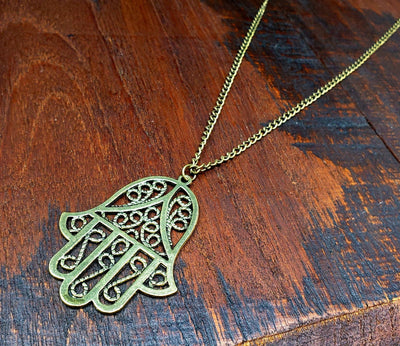 Long Hamsa Necklace -- Culture Cross