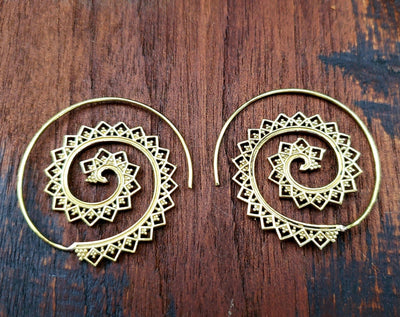 Mandala lace Spiral Hoop Threader Earrings -- Culture Cross