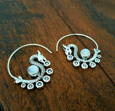 Moonstone Dancing Dragon Earrings -- Culture Cross
