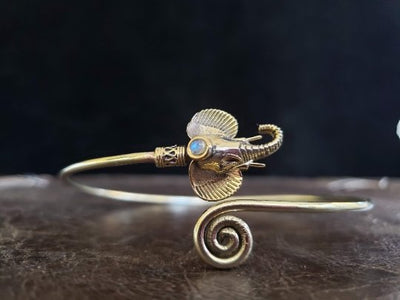 Moonstone Elephant Arm Cuff -- Culture Cross