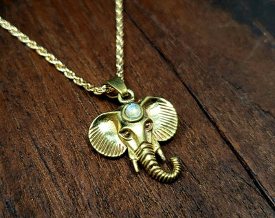 Moonstone Elephant Necklace -- Culture Cross