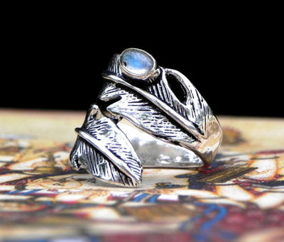 Moonstone Feather Ring -- Culture Cross