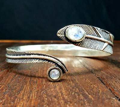 Moonstone Forest Feather Arm Cuff -- Culture Cross