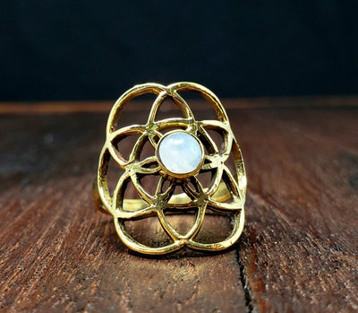 Moonstone Seed of Life Ring -- Culture Cross