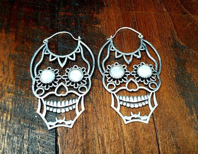 Moonstone Sugar Skull Earrings -- Culture Cross