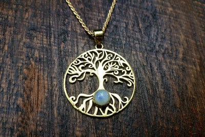 Moonstone Tree of life Pendant Necklace -- Culture Cross