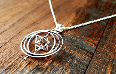 Sacred Geometry Gyroscope Spinner Necklace -- Culture Cross