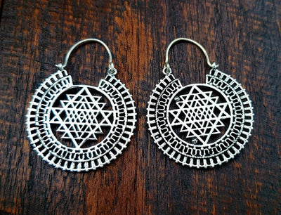 Sacred Geometry Sri Yantra Earrings -- Culture Cross