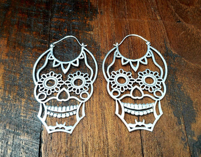 Silver Sugar Skull Earrings -- Culture Cross