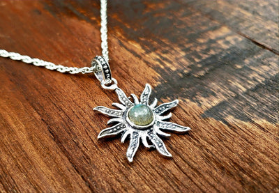 Simple Labradorite Sun Necklace -- Culture Cross