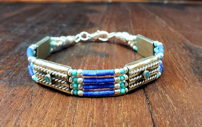 Simple Lapis Tibetan Beaded Bracelet -- Culture Cross