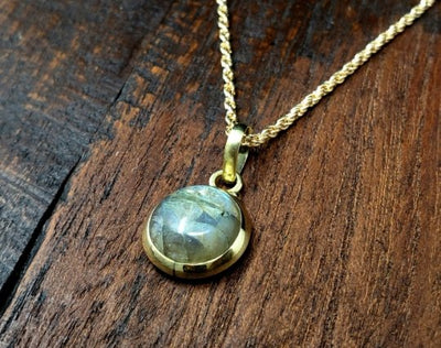 Simple Round Labradorite Cabochon Necklace -- Culture Cross